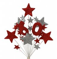 Number age 60th birthday cake topper decoration in red and silver - free postage
